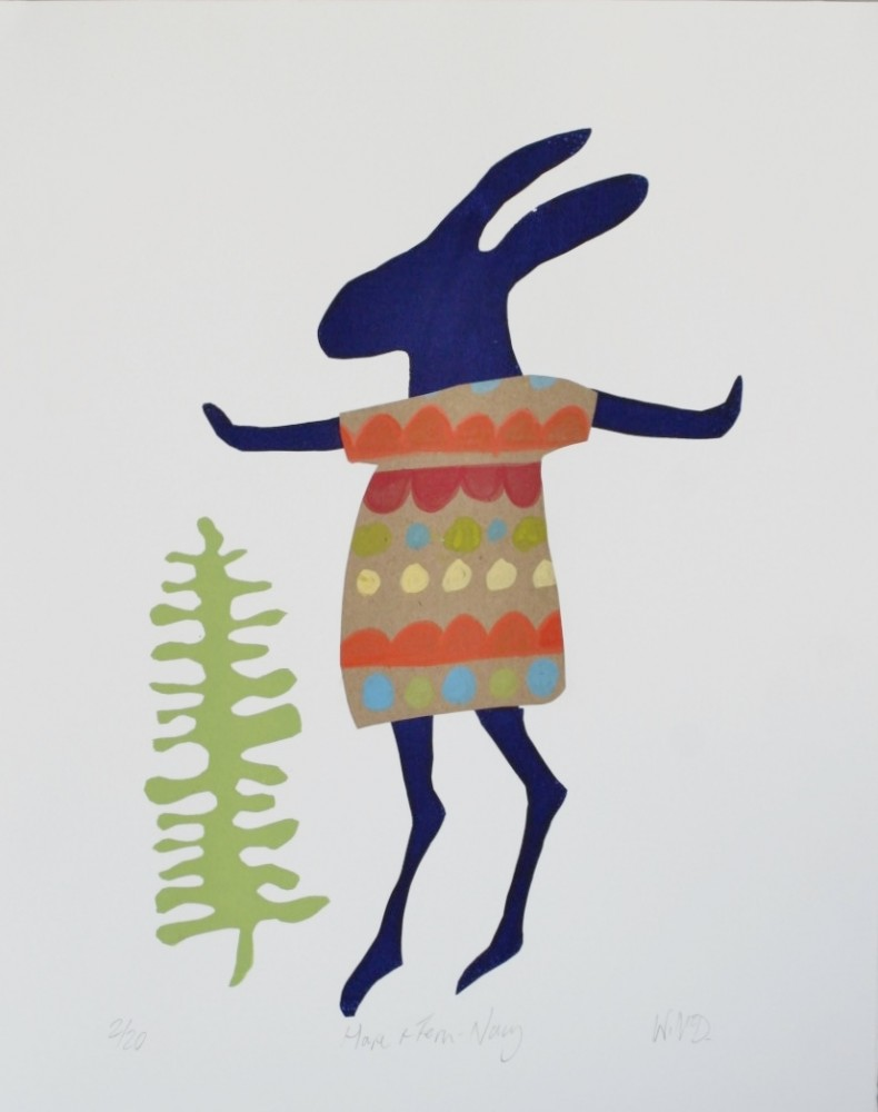Navy Hare and Fern by Wendy McDonald